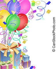 palloni, con, coriandoli, e, presenta, per, festa compleanno