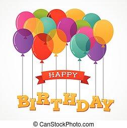 palloni, festa, buon compleanno, cartolina auguri