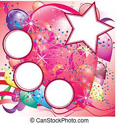 palloni, festa, invito, scheda, per, ragazza, con, spazio bianco