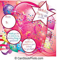palloni, festa, invito, scheda, per, ragazza