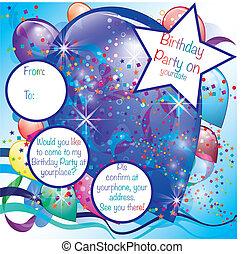 palloni, festa, invito, scheda, per, ragazzo
