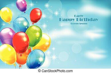 palloni, festa, invito, scheda, vector., celebrare, eventi, bandiera, manifesti