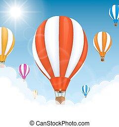palloni, in, il, aria., vettore