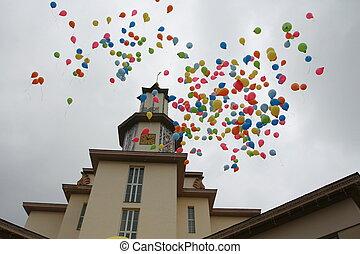 palloni, mosca, in, il, cielo
