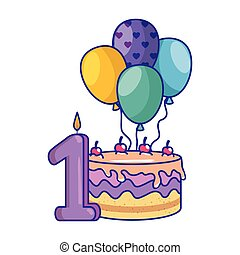 palloni, numero, torta, candela, elio
