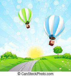 palloni, paesaggio verde