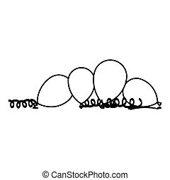palloni, serpentino, silhouette, pavimento