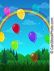 palloni, sopra, foresta, paesaggio