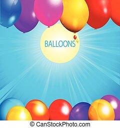 palloni, sopra, soleggiato, fondo, cielo