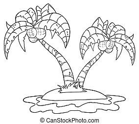 palm, ö, skissera, träd, två