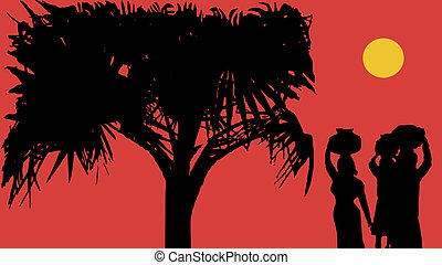 palm and girls - village girl carry pots on their heads at...