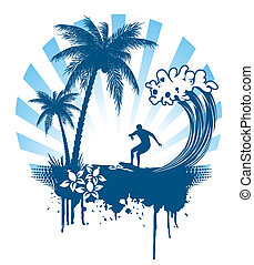 Background with palm and surfing on waves in grunge style