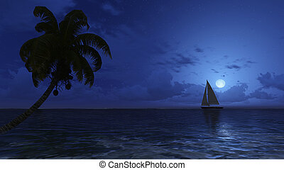 Palm and yacht silhouettes on the night sky background - ...