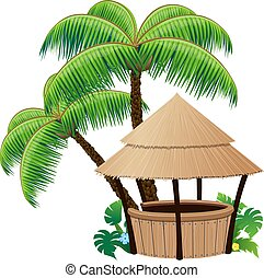 palm, bar, bungalow, bomen