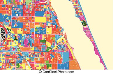 Colorful vector map of Palm Bay, Florida, USA. Art Map template for selfprinting wall art in landscape format.