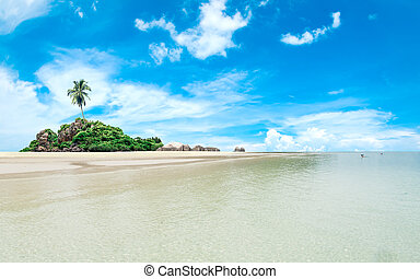 Palm beach in tropical idyllic paradise on amazing fantasy island
