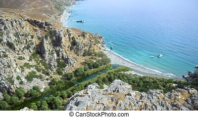 Palm beach Preveli in Crete Greece