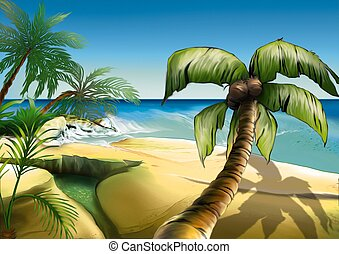 Palm beach - Highly detailed cartoon background 44 -...