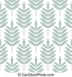 Palm blue leaves seamless vector pattern.
