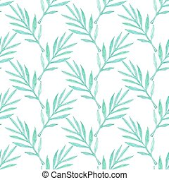 Palm branch. Seamless pattern with leaves. Hand-drawn background. Vector illustration.