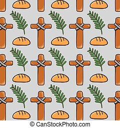 palm branches with cross and bread background