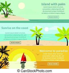 Palm coast rest banner horizontal set, flat style