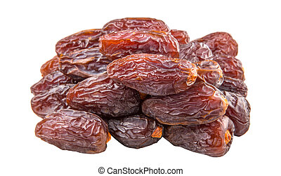 Palm Date Fruits - Date fruits over white background