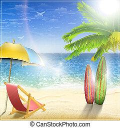 palm., ensoleillé, océan, côte