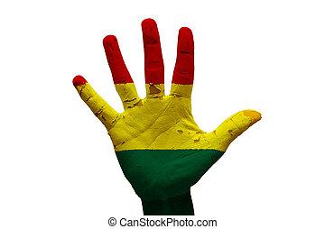 palm flag bolivia - man hand palm painted flag of bolivia