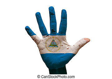 palm flag nicaragua - man hand palm painted flag of ...