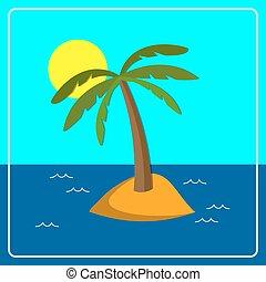 Palm - Flat background with palm tree on island. Eps 10