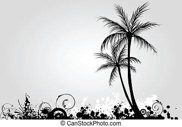 palm, grunge, bomen, achtergrond