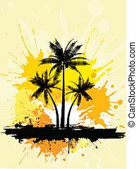 palm, grunge, bomen