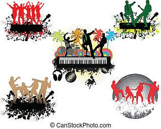 palm-grunge, concert, achtergrond, onder