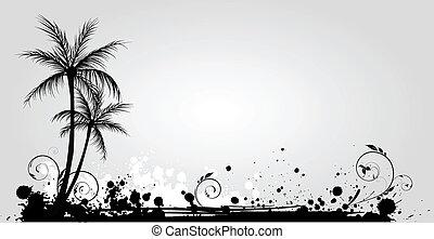 palm, grunge, träd, bakgrund