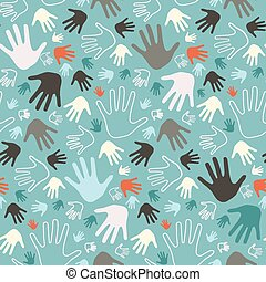 Palm Hand Seamless Vector Retro Pattern