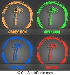 Palm icon. Fashionable modern style. In the orange, green, blue, red design. Vector
