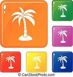 Palm icons set vector color