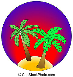 Palm Island on gradient blue and red background