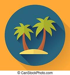palm Island. Travel Icon. Flat designed style.