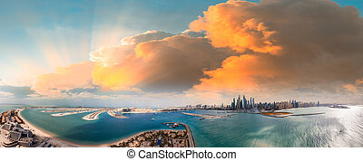 Palm Jumeirah and Marina skyline in Dubai, panoramic aerial view
