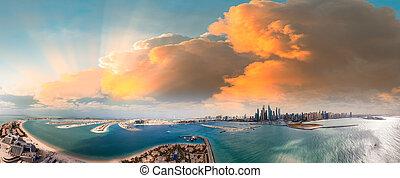 Palm Jumeirah and Marina skyline in Dubai, panoramic aerial view
