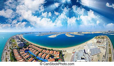 Palm Jumeirah, Palm Island, Dubai, United Arab Emirates. Aerial panoramic view