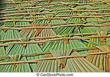 Palm leaf roofing