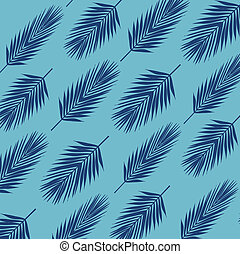 Palm leave background. Flat style. blue tones.
