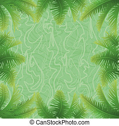 Background, green palm leaves and abstract pattern.