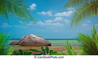 Palm Leaves and an Enormous Boulder over a Tropical Beach...