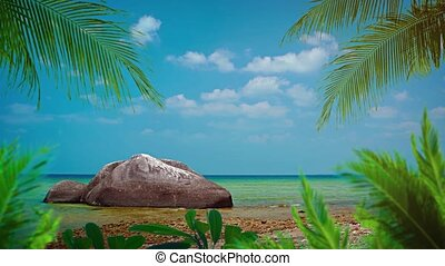 Palm Leaves and an Enormous Boulder over a Tropical Beach ...