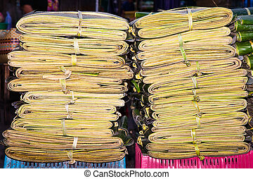 palm leaves bundled as packing material