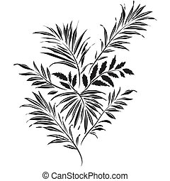Palm leaves. Doodle style - Palm leaves. Black silhouette on...